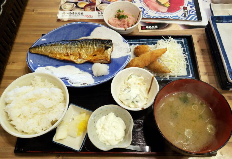 磯丸水産の鯖の塩焼き御膳